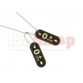 Bloodgroup Rubber Dog Tags 0 Pos Glow in the Dark
