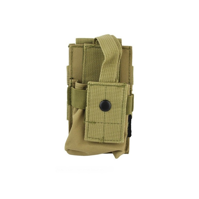Molle radio utility pouch khaki iron site airsoft shop for How to make a paracord utility pouch