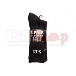 6 Inch Socks 3-Pack Black