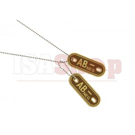 Bloodgroup Rubber Dog Tags AB Neg Desert