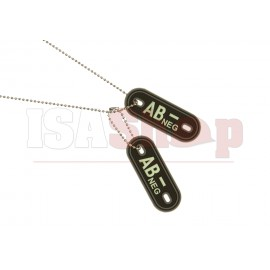 Bloodgroup Rubber Dog Tags AB Neg Glow in the Dark