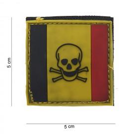 Belgium Skull and Bones PVC Patch
