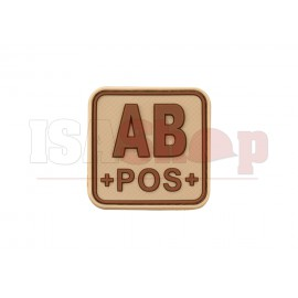 Bloodtype Square Rubber Patch AB Pos Desert