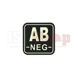 Bloodtype Square Rubber Patch AB Neg Glow in the Dark