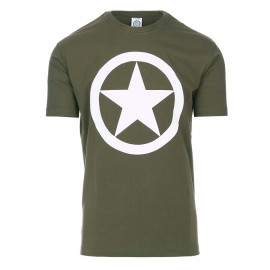 White Allied Star WWII T-Shirt OD