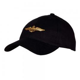 WWII Navy Pilot Wings Baseball Cap Black