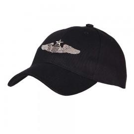 WWII Senior Pilot Wings Baseball Cap Black